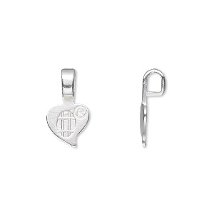 Bail, Aanraku®, Glue-on, Silver-plated pewter (zinc-based Alloy), 16x9mm 9x7mm Heart Flat Base. Sold Per Pkg 5