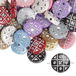 Bead Mix, Acrylic, Mixed Colors, 18mm Double-sided Flat Round Tic-tac-toe Design, 2mm Hole. Sold Per Pkg 50