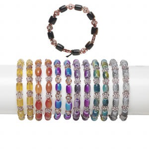 Bracelet Mix, Stretch, Acrylic / Resin / Glass, Mixed Colors, 8x7mm-10x7mm Mixed Shape, 6 Inches. Sold Per Pkg 12
