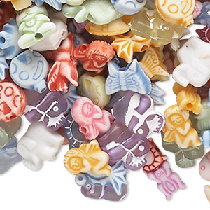 Bead Mix, Acrylic, Opaque Translucent Mixed Colors, 6x5mm-14x12mm Mixed Animal Shape. Sold Per 1/4 Pound Pkg, Approximately 740-860 Beads