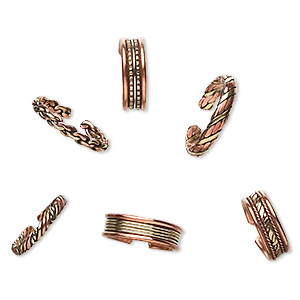 Ring Mix, Copper Brass, 4-7mm Wide, Adjustable. Sold Per Pkg 6