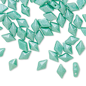 "Bead, DiamonDuoâ""¢, Czech Pressed Glass, Opaque Shimmer Green Turquoise, 8x5mm Faceted Diamond Flat Back (2) 0.7-0.8mm Holes. Sold Per 10-gram Pkg, Approximately 70 Beads"