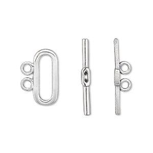 Clasp, 2-strand Toggle, Sterling Silver, 16x7mm Oval. Sold Individually