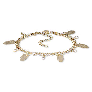 Bracelet, 2-strand, Egyptian Glass Rhinestone Gold-finished Steel, Clear, 23mm Wide 20x18mm Owl, 7-1/2 Inches 2-inch Extender Chain Lobster Claw Clasp. Sold Individually