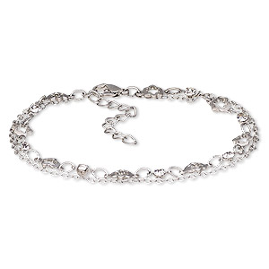 Bracelet, 2-strand, Egyptian Glass Rhinestone Imitation Rhodium-plated Steel, Clear, 8mm Wide 8x8mm Open Flower, 7-1/2 Inches 2-inch Extender Chain Lobster Claw Clasp. Sold Individually