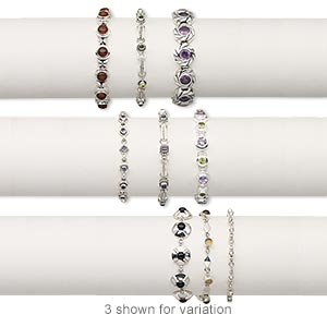 Bracelet Mix, Multi-gemstone (natural / Dyed / Man-made) Sterling Silver, 5-13mm Wide Mixed Shape, 7 7-1/2 Inches Mixed Clasp. Sold Per Pkg 3