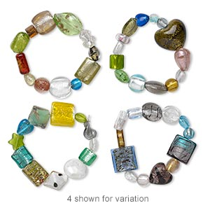Bracelet Mix, Stretch, Glass Lampworked Glass, Multicolored, 6-30mm Wide, 6 Inches. Sold Individually