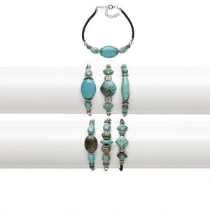 Bracelet Mix, Magnesite (dyed / Stabilized) / Velvet / Silver-coated Plastic / Silver-finished Steel, Blue / Green / Black, 11-16mm Wide Mixed Shape, 7-1/2 Inches 2-inch Extender Chain Springring Clasp. Sold Per Pkg 3