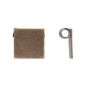 Bail, Glue-on, Antiqued Brass, 16x15mm Square Hidden Tube Bail. Sold Per Pkg 2
