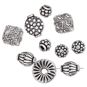 Bead Mix, Antique Silver-plated Copper, 7x6mm-14x8mm Mixed Shape. Sold Per Pkg 10
