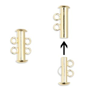 Clasp, 2-strand Slide Lock, Gold-plated Brass, 16x6mm Tube. Sold Per Pkg 100