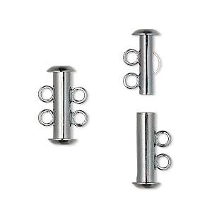 Clasp, 2-strand Slide Lock, Gunmetal-plated Brass, 16x6mm Tube. Sold Per Pkg 10