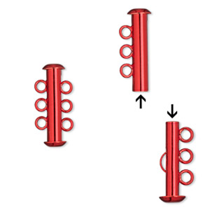 Clasp, 3-strand Slide Lock, Electro-coated Brass, Red, 21.5x6mm Tube. Sold Per Pkg 2