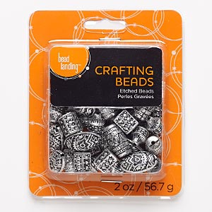 Bead Mix, Antiqued Silver-coated Plastic, 12x9mm-22x13mm Mixed Shape Tribal Designs. Sold Per 2-ounce Pkg, Approximately 50 Beads