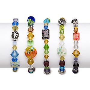 Bracelet Mix, Stretch, Glass / Millefiori Glass / Silver-coated Plastic, Multicolored, 4mm-18mm Mixed Shape, 6 Inches. Sold Per Pkg 5