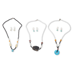 Necklace Earring Mix, Steel / Multi-gemstone (natural / Dyed / Imitation) / Glass, Multicolored, 4x3mm-35x30mm Multi-shape, 16-19 Inches, 1 1-1/2 Inch Earring Fishhook Earwire. Sold Per Pkg 3 Sets