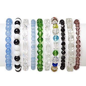 Bracelet Mix, Stretch, Glass Cat's Eye Glass, Mixed Colors, 4mm-14x10mm Mixed Shape, 5 Inches. Sold Per Pkg 10