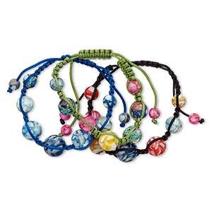 Bracelet Mix, Mother-of-pearl Shell (assembled) / Nylon / Resin, Mixed Colors, 8-16mm Round, Adjustable 10 Inches Macramé Knot Closure. Sold Per Pkg 3