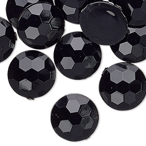 Cabochon, Acrylic, Opaque Black, 16mm Non-calibrated Faceted Round. Sold Per Pkg 24