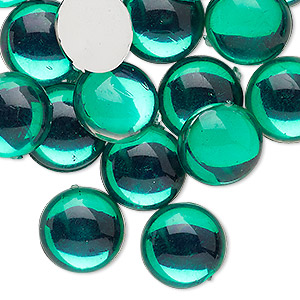Cabochon, Acrylic, Transparent Green, 14mm Non-calibrated Round. Sold Per Pkg 24