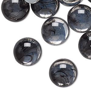 Cabochon, Acrylic, Clear Black, 15mm Non-calibrated Round. Sold Per Pkg 24