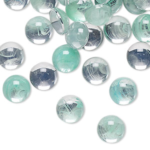 Cabochon, Acrylic, Clear Green, 9mm Non-calibrated Round. Sold Per Pkg 100