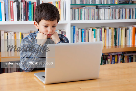 Boy Using Laptop Computer Stock Photo - Rights-Managed, Artist: Siephoto, Code: 700-05803530