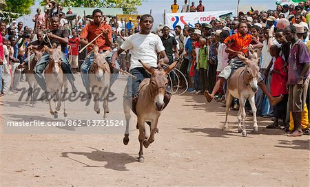 The start of a donkey race
