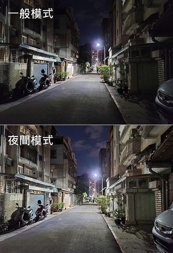 同一場景的一般模式(圖上)與夜間模式(圖下)的實拍差異
