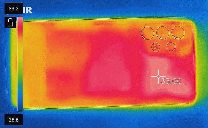 原始狀態背面最高溫 33.2℃