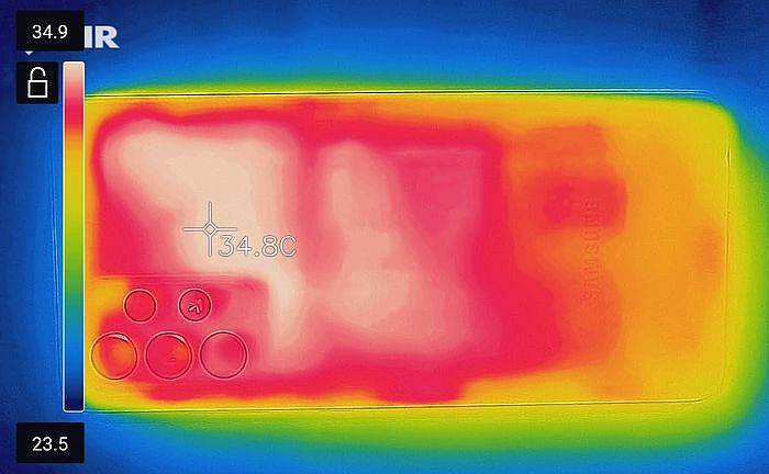3D Mark Wild Life Stress Test(循環 20 次)背面最高溫 34.9℃