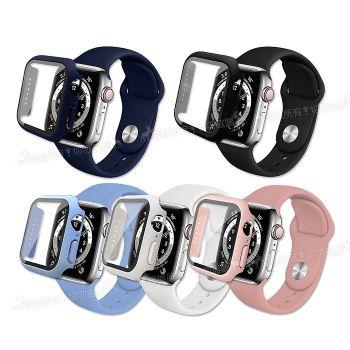 全包覆 Apple Watch Series SE/6/5/4 40mm 9H鋼化玻璃貼+錶殼+環保矽膠錶帶