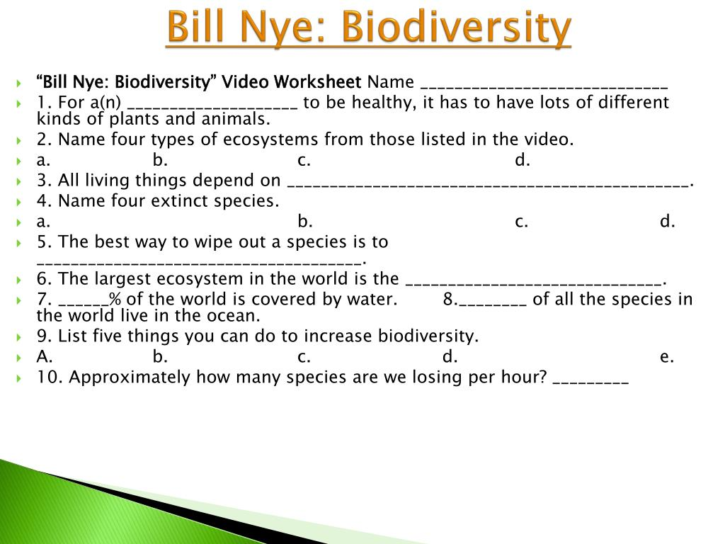 Bill Nye Biodiversity Video Worksheet Answers