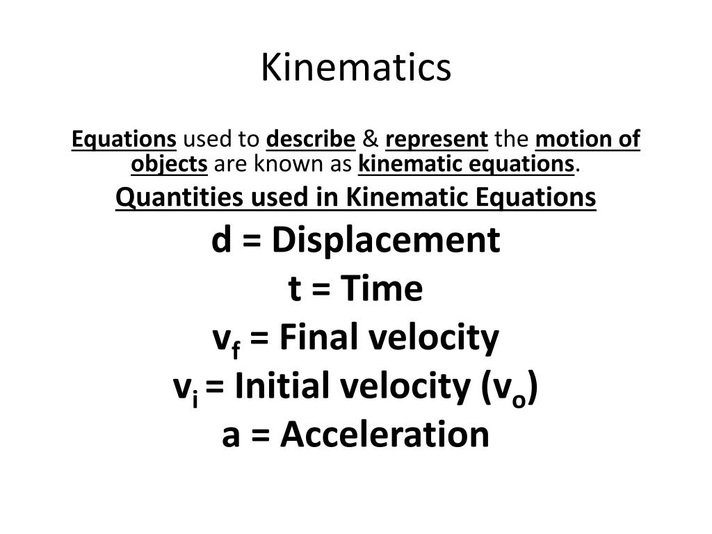 Kinematic Equation For Final Velocity