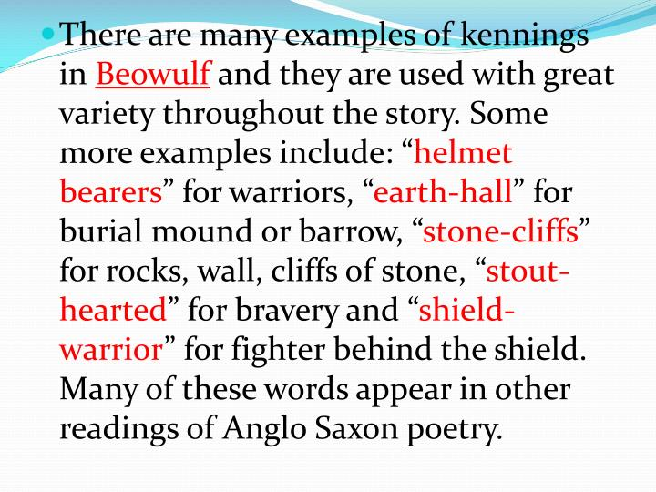 Anglo Saxon Kennings Examples
