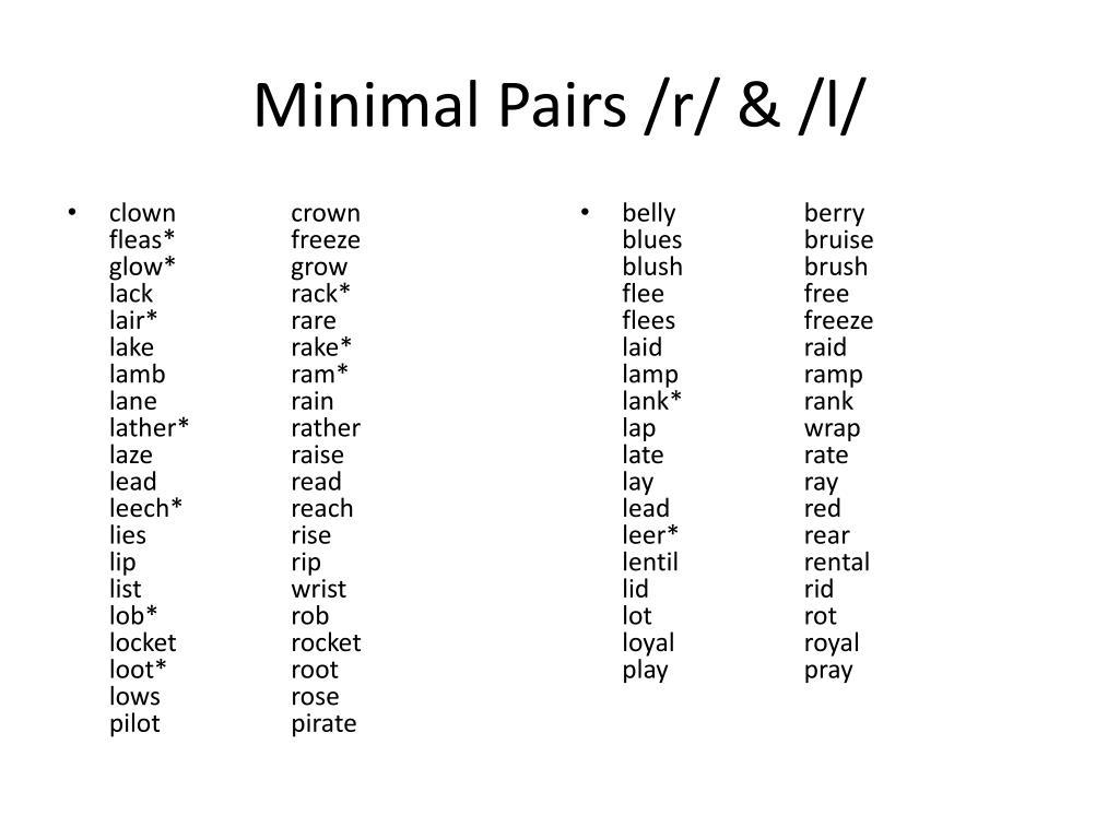Minimal Pairs List