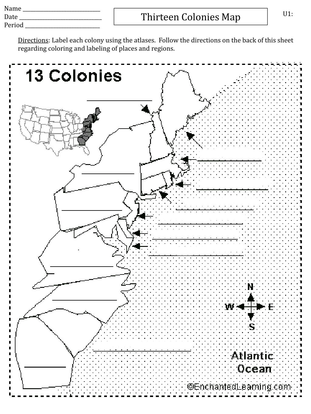 Names Of The Thirteen Colonies The 13 Colonies In The