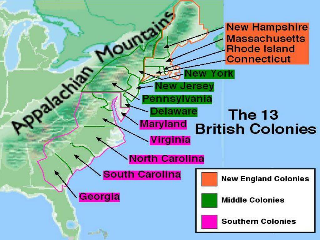 New England Colonies Middle Colonies And Southern Colonies