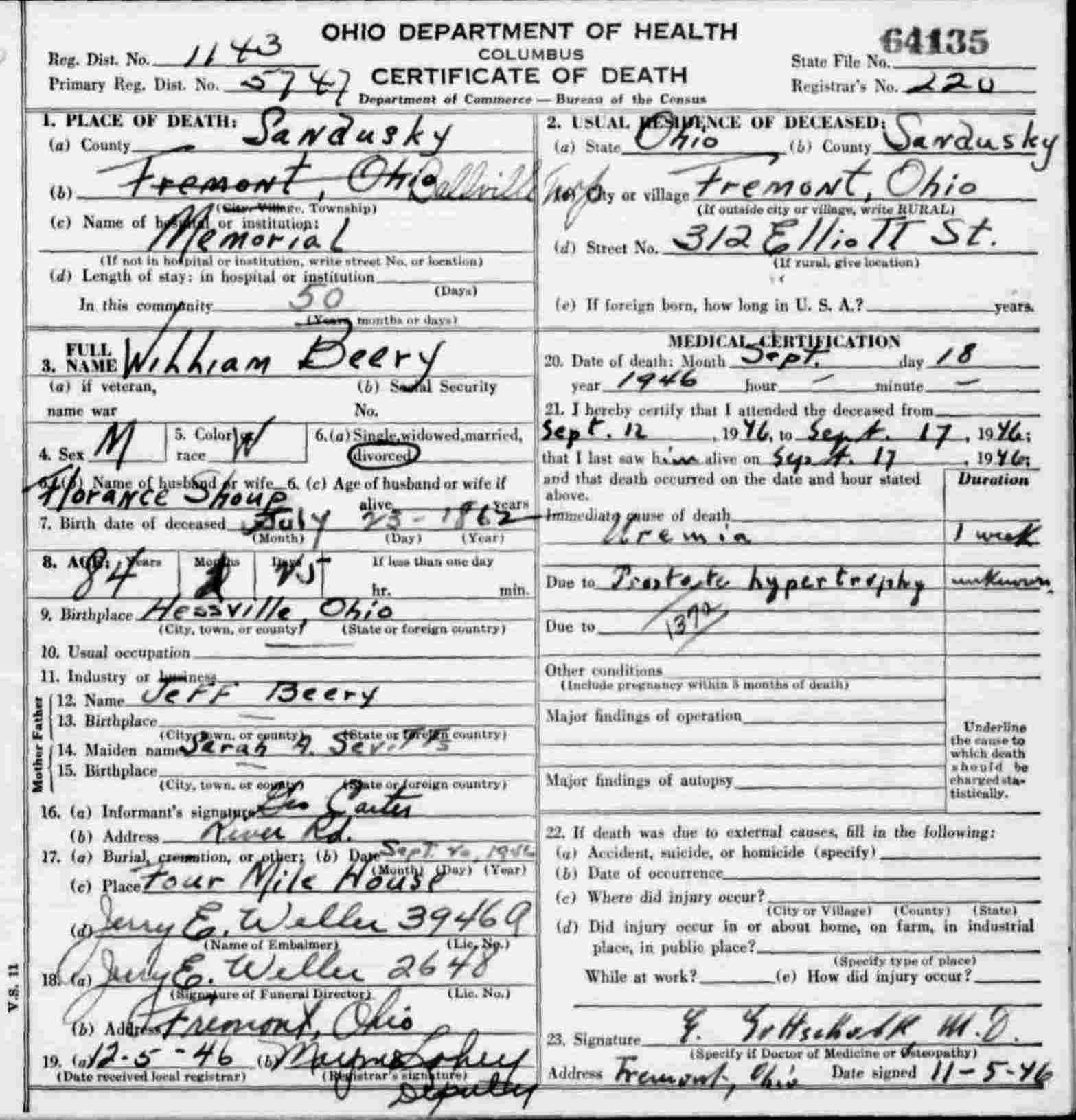 William Beery's death certificate