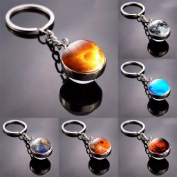 Solar System Planet Keyring Double Side Glass Ball Key Chain Jewelry Gift