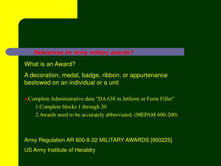 References For Army Military Awards