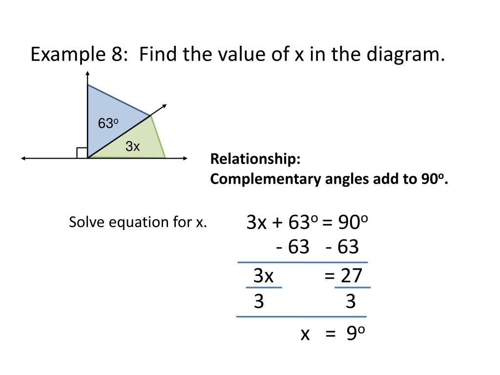 How To Find Complementary Angles With Equations