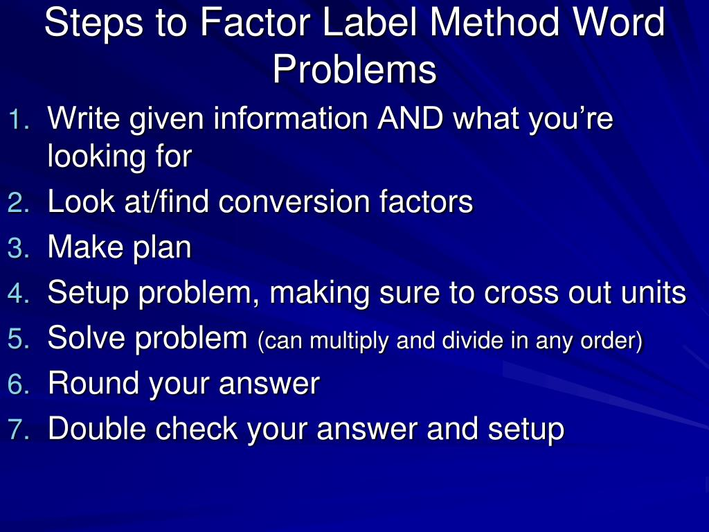 32 Factor Label Method Steps