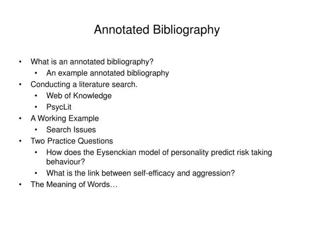 PPT - Annotated Bibliography PowerPoint Presentation, free