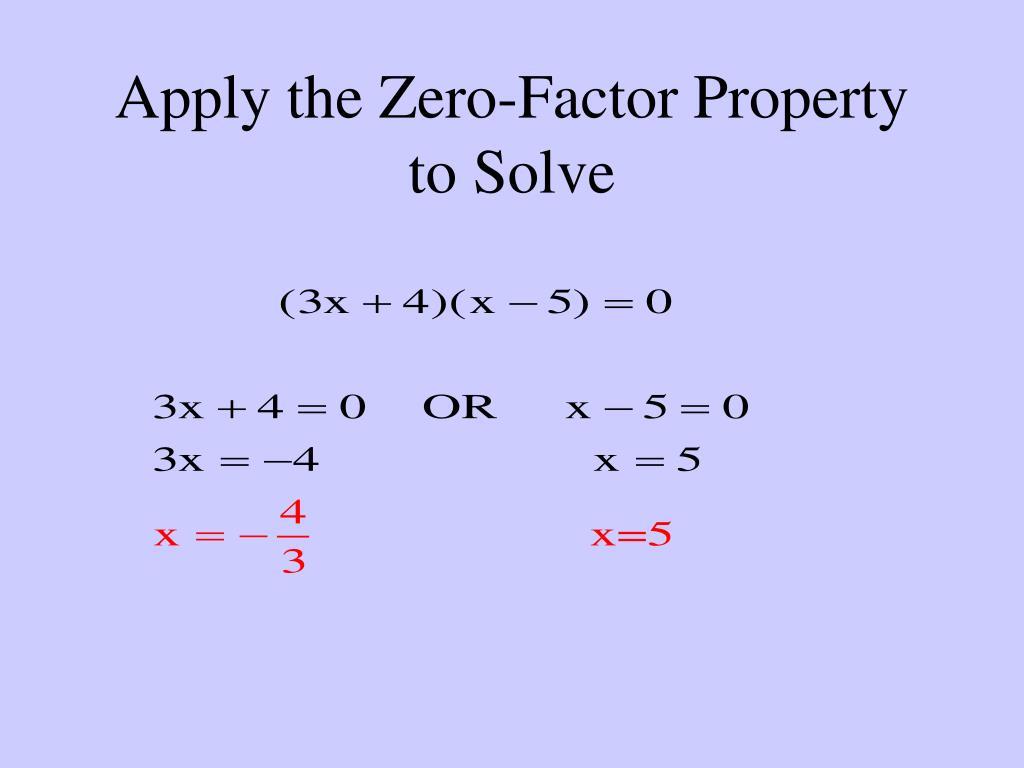 Property Zero Factor Property Formula