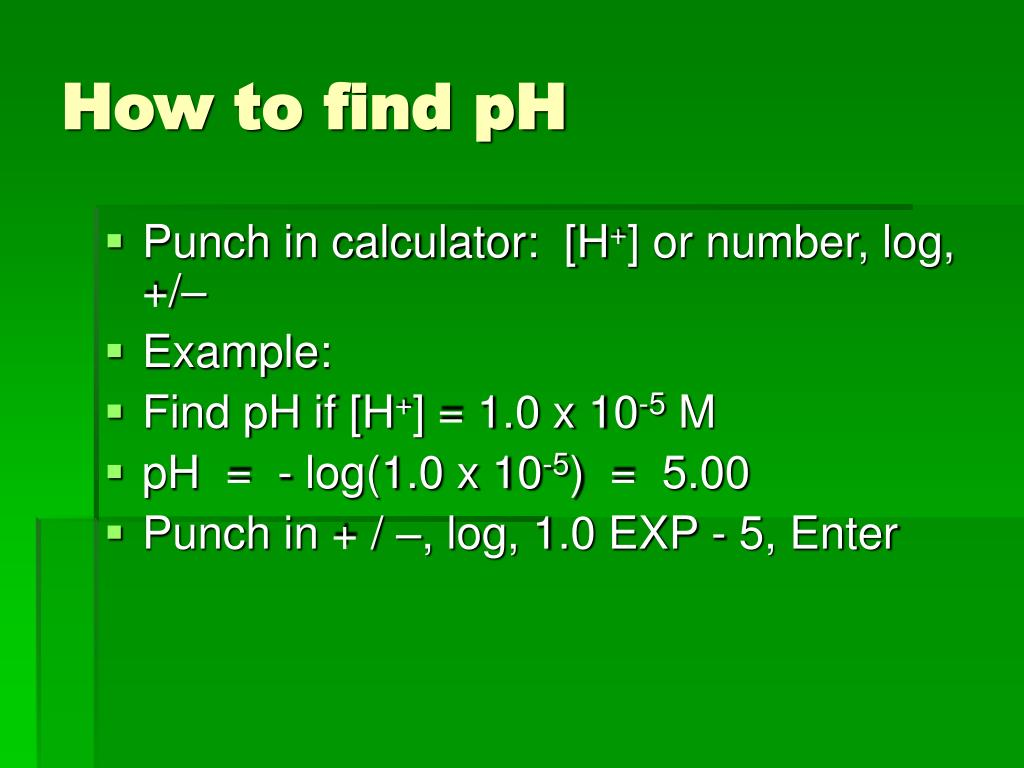 How To Find H From Ph On A Calculator