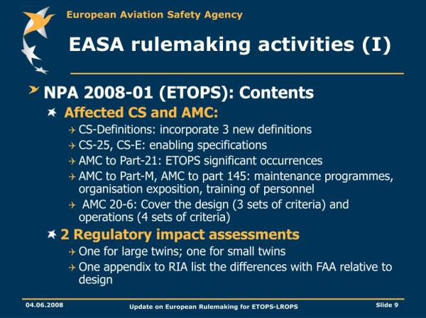 PPT - Update on European Rulemaking for ETOPS-LROPS ...