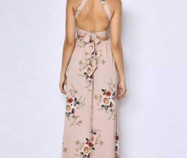 Sleeveless Polyester Halter Neck Floral Print Maxi Day Going Out Dress Stylesimo Com