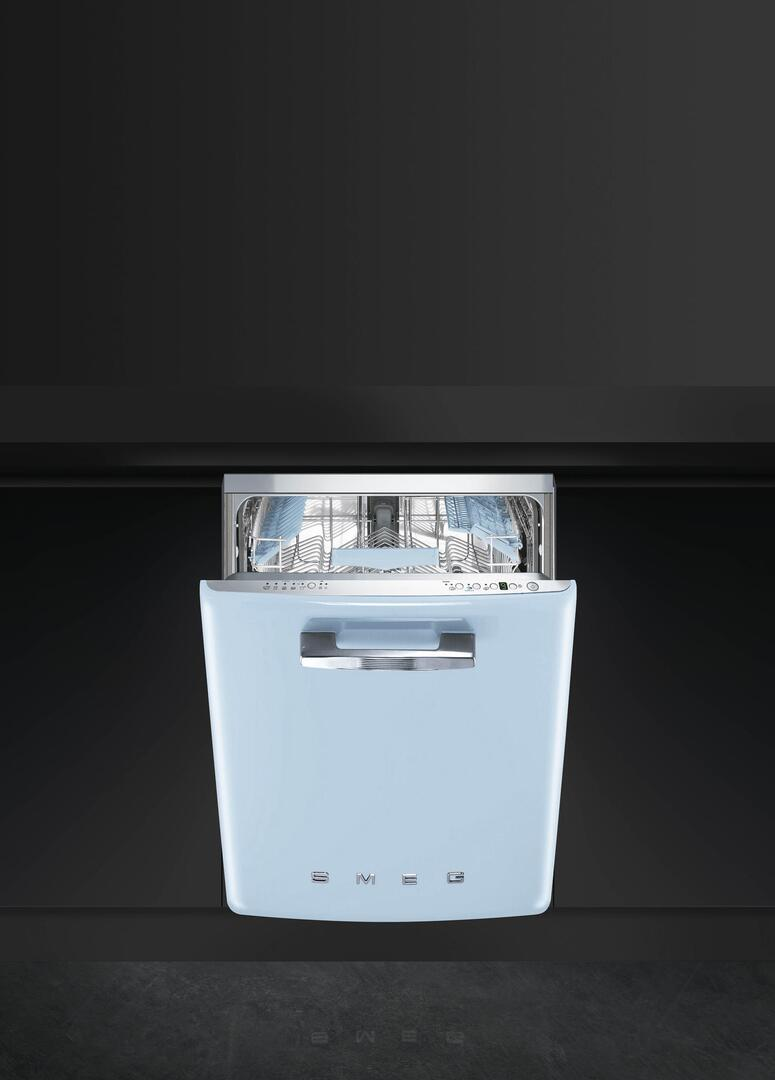 Smeg STFABUPB 24 Inch 50s Retro Style Series Pastel Blue Built In Fully Integrated Dishwasher