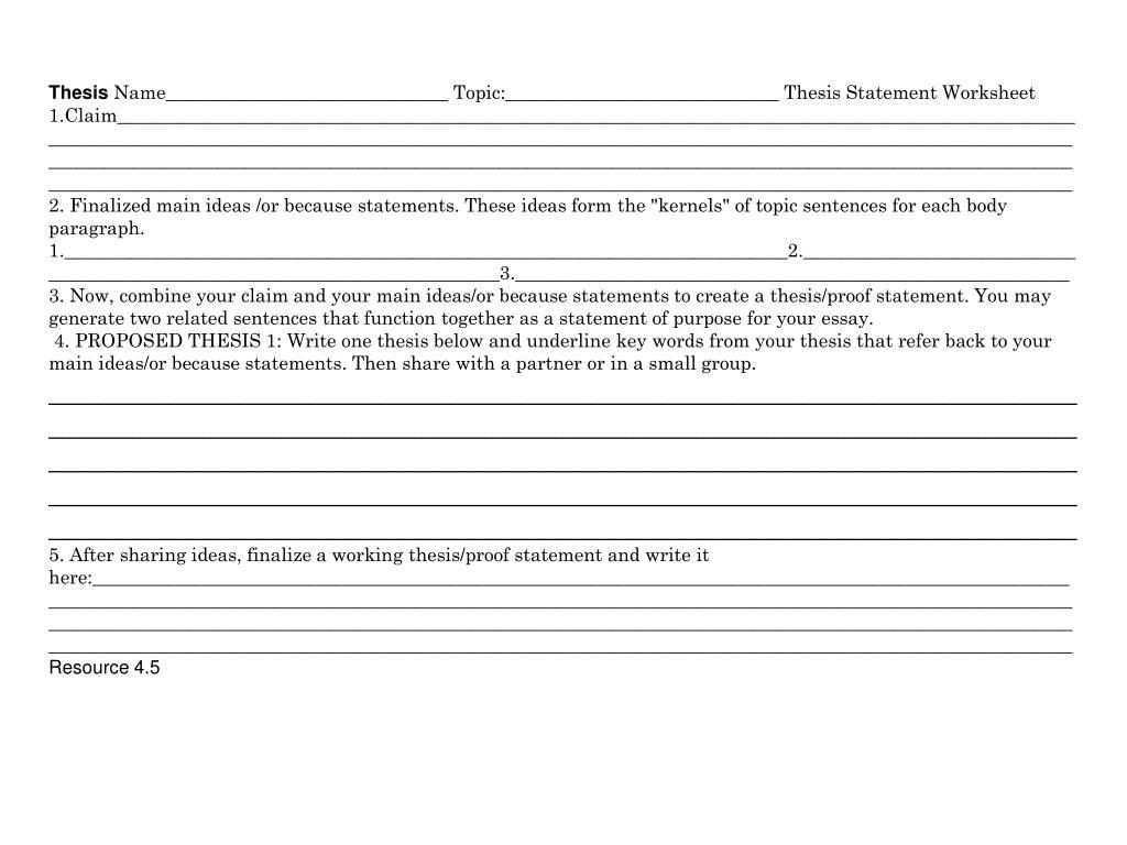 Thesis Statement Worksheet Answer Key
